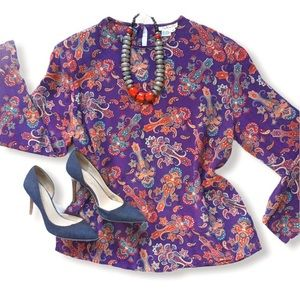 Purple Paisley Silk Blouse Size 14